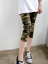 Da donna A vita medio-alta Semplice Elastico magro Pantaloni,Taglia piccola Con stampe Camouflage