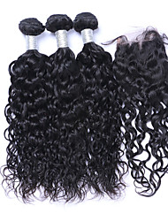 cheap -Natural Color Hair Weaves Brazilian Texture Natural Wave More Than One Year Four-piece Suit hair weaves