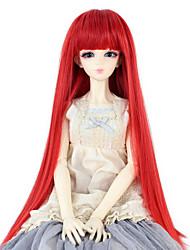 baratos -Mulher Perucas sintéticas Liso Vermelho Com Franjas boneca peruca Perucas para Fantasia