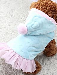 Chien Pulls à capuche Robe Vêtements pour Chien Chaud Décontracté / Quotidien Princesse Cœur Bleu Rose Costume Pour les animaux