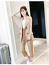 cheap -Women's Daily Soak Off Summer Blazer Pant Suits,Solid Round Neck Short Sleeve Cotton/nylon with a hint of stretch