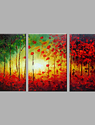 Hand-Painted Artistic Abstract The Woods Three Panel Canvas Oil Painting For Home Decoration