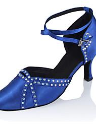 "cheap -Women's Modern Silk Sandal Performance Crystals/Rhinestones Cuban Heel Black Blue 2"" - 2 3/4"" Customizable"