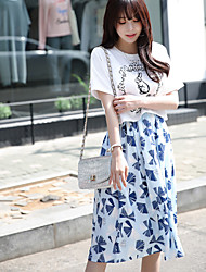 Women's Daily Simple Summer T-shirt Skirt Suits,Animal Print Round Neck Short Sleeve