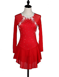 Figure Skating Dress Women's Girls' Ice Skating Dress Deep Blue Red Rhinestone High Elasticity Performance Skating Wear Handmade Classic