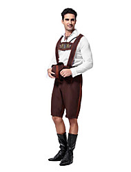 cheap -Oktoberfest Bavarian Cosplay Costume Party Costume Men's Halloween Carnival New Year Festival / Holiday Halloween Costumes Outfits Coffee Patchwork Men's Uniform
