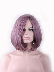 baratos -Perucas sintéticas Liso / Ondulado Natural Rosa Corte Assimétrico Cabelo Sintético Riscas Naturais Rosa Peruca Mulheres Comprimento médio Sem Touca