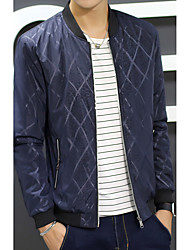 Men's Daily Simple Casual Winter Fall Jacket,Solid Striped Round Neck Long Sleeve Regular Polyester Nylon