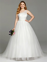 cheap -Ball Gown One Shoulder Court Train Tulle Plus Size Wedding Dress with Beading by LAN TING BRIDE®