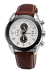 cheap -Men's Wrist Watch Japanese Calendar / date / day Genuine Leather Band Casual / Fashion / Dress Watch Black / Brown / Two Years / Sony SR626SW