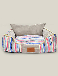 preiswerte -Katze Hund Betten Haustiere Matten & Polster Streifen warm halten Weich Elasthan Grau Blau Rosa