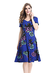 cheap -Women's Plus Size Work Vintage A Line Swing Dress - Floral High Rise V Neck