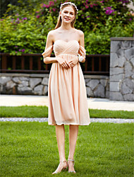 cheap -A-Line Sweetheart Knee Length Chiffon Bridesmaid Dress with Criss Cross Pleats by LAN TING BRIDE®