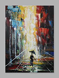IARTS® Hand Painted Modern Abstract Running in the Rain Under the Black Umbrella Oil Painting On Canvas Stretched Frame Wall Art For Home Decoration