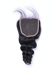 Недорогие -100% необработанный сорт 7а натуральный черный рыхлый бразильский виргинский человеческий волос закрытие бесплатно / средний / 3 части 4x4