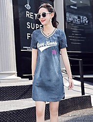 cheap -Women's Daily Street chic Shift Dress,Solid V Neck Above Knee Short Sleeves Cotton Spring Summer Mid Rise Inelastic Medium