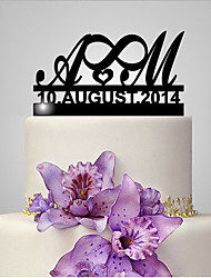 cheap -Cake Topper Classic Theme Wedding Monogram Funny & Reluctant Plastic Wedding Anniversary with 1 Poly Bag