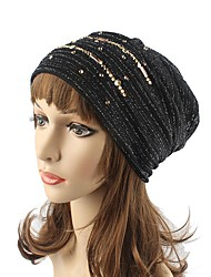 cheap -Women's Cotton Polyester Beanie Floppy Hat Headwear Cute Casual Modern Daily Knitwear Solid Rhinestone Fall Winter Knitting Pink/Khaki/Wine/Black