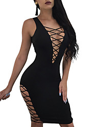 cheap -Women's Daily Going out Club Casual Sexy Bodycon Dress,Solid Color Sexy Deep V Above Knee Sleeveless Polyester Spring Summer Mid Rise