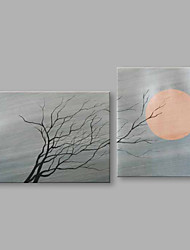 cheap -IARTS®Hand Painted Abstract Oil Painting Moon & Withered Tree Landscape Set of 2 with Stretched Frame Handmade For Home Decoration Ready To Hang