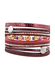 Fashion Women Multi Rows Metal Circle Rhinestone Magnet Leather Charm Bracelet