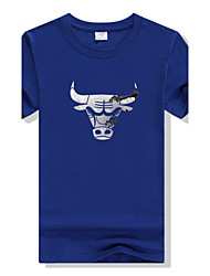 Men's Round Neck Candy Colors Cattle Printing Fast-drying Slim Short-sleeved Sports Fitness Cotton T-shirt