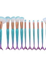abordables -11pcs Pincel Abanico Cepillo para Base Pincel de Nylon Mate Bonito Cobertura completa Peces Aluminio Cara