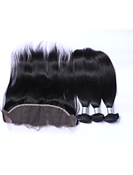cheap -Natural Color Hair Weaves Brazilian Texture Straight More Than One Year Four-piece Suit hair weaves