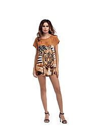 cheap -Women's Daily Holiday Going out Club Beach Vintage Sexy Street chic Loose Dress,Animal Print Round Neck Mini Short Sleeves Polyester