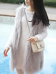 Women's Work Simple Spring Vest,Solid Round Neck Sleeveless Long Faux Fur