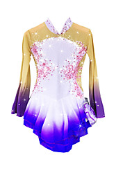 Figure Skating Dress Women's Girls' Ice Skating Dress Keep Warm Handmade Long Sleeves Performance Skating Wear High Elasticity Spandex