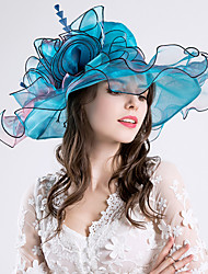Women's Feather / Silk / Organza Headpiece-Wedding / Special Occasion / Party / Casual / Outdoor Fascinators Hats 1 Piece Hair Accessories