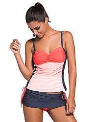 cheap -Women's Color Block Plunging Neckline Tankini Swimwear Blue Orange Fuchsia Lavender