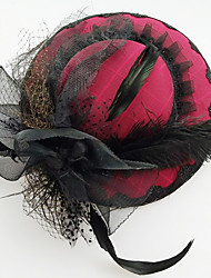 Chiffon Lace Feather Fabric Silk Net Headpiece-Wedding Special Occasion Birthday Party/ Evening Fascinators Hats 1 Piece