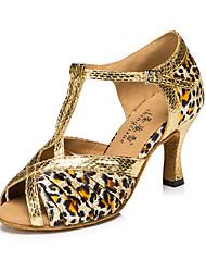 Damen Latin Seide Kunstleder Sandalen Sneakers Professionell Verschlussschnalle Stöckelabsatz Gold Leopard Maßfertigung