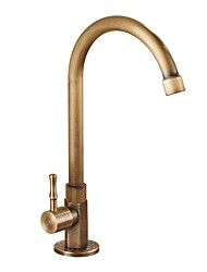 High Quality Antique Brass Single Cold Single Handle One Hole Rotatable Kitchen Sink Faucet