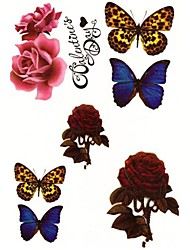 Temporary Shoulder Body Flower Series 3D Rose Waterproof Tattoos Stickers Non Toxic Glitter Large Fake Tattoo Halloween Gift 22*15cm