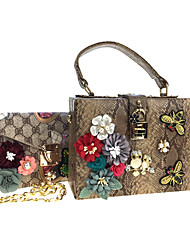 Women Bags All Seasons leatherette Bag Set 2 Pcs Purse Set Rhinestone Appliques Pearl Detailing Bead Printing Sequined Floral Flower