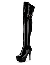 Women's Shoes Patent Leather Fall Winter Riding Boots Fashion Boots Motorcycle Boots Boots Stiletto Heel Round Toe Thigh-high Boots Zipper
