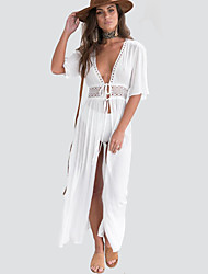 cheap -Women's Daily Going out Sexy Street chic Loose Dress,Solid V Neck Maxi Short Sleeves Polyester Summer Fall Mid Rise Micro-elastic Medium