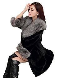 Cappotto di pelliccia Da donna Casual Semplice Autunno Inverno,Tinta unita Colletto alla Peter Pan Pelliccia di volpe Lungo Manica lunga