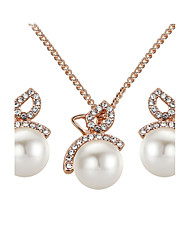 cheap -Women's Stud Earrings Pendant Necklaces AAA Cubic Zirconia Imitation Pearl Bohemian Party Gold Plated Bowknot
