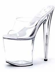 cheap -Women's Sandals Slippers Summer PVC Party & Evening Crystal Stiletto Heel Navy Blue Clear 5in & over