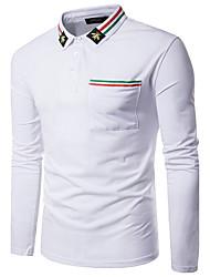 Bomull Langermet,Skjortekrage Polo Ensfarget Høst Enkel Ut på byen Fritid/hverdag Herre