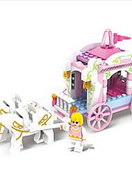 baratos -Carros de Brinquedo Blocos de Construir Brinquedos Castelo Carruagem Cavalo Plásticos ABS Para Meninas Peças