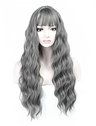 cheap -Hot Selling Grey Color Long Natural Wave Women Wig Heat Resisting Cospaly Syntheitc Wig