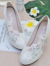 Women's Wedding Shoes Slingback Spring Fall Lace Leatherette Wedding Dress Party & Evening Rhinestone Applique Imitation Pearl Sparkling