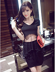 cheap -Women's Party Casual Summer T-shirt Skirt Suits,Solid V Neck Short Sleeve Cotton