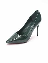 Women's Heels Formal Shoes Fall PU Walking Shoes Wedding Dress Party & Evening Stiletto Heel Black Ruby Green Khaki 3in-3 3/4in