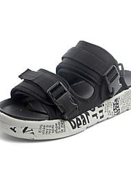 baratos -Homens sapatos Couro Ecológico Verão Outono Conforto Sandálias para Casual Preto e Dourado Branco/Preto Preto / verde